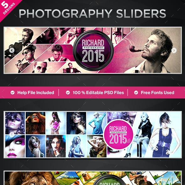 Photography Sliders - 5 Designs