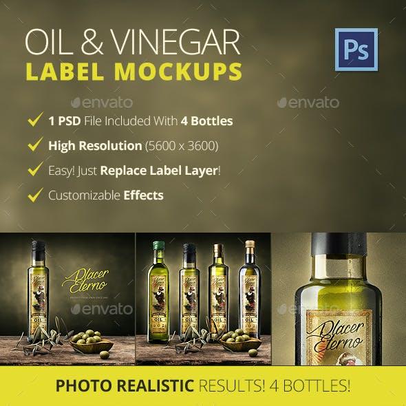 Olive Oil And Vinegar Bottle Label Mockup