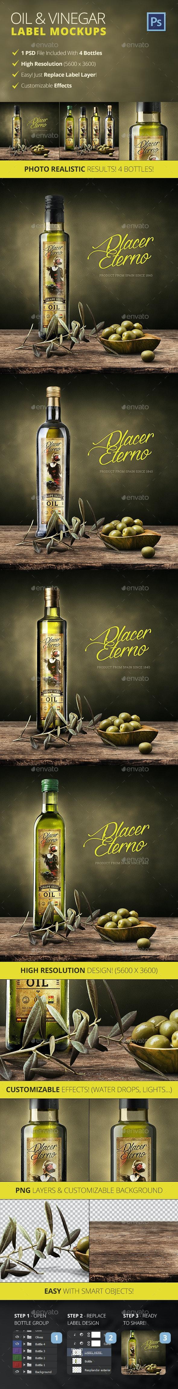 Olive Oil And Vinegar Bottle Label Mockup - Food and Drink Packaging