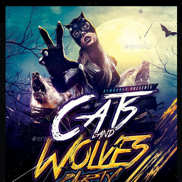 Cats And Wolves Party | Flyer Template PSD