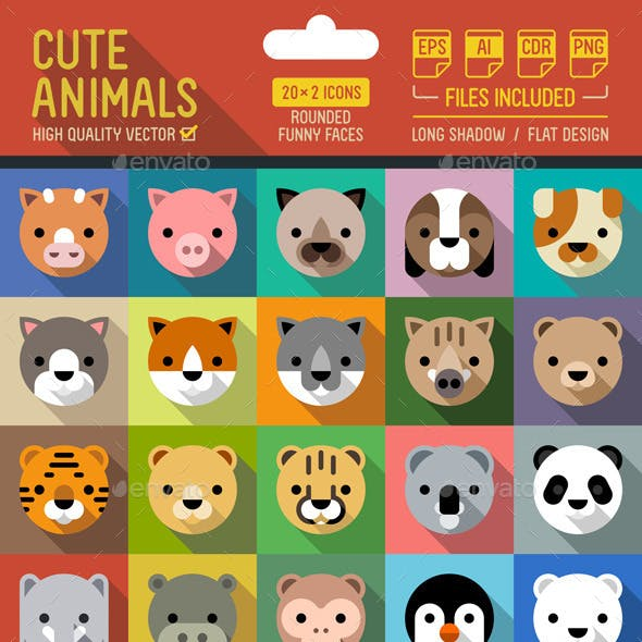 Cute Animals Flat Icons with Long Shadow