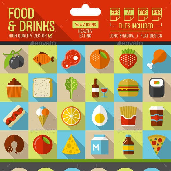 Food and Drinks Flat Icons with Long Shadow