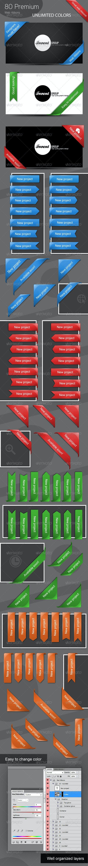 80 Premium Web Ribbons - Miscellaneous Web Elements