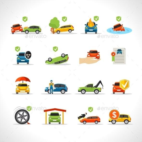 Car Insurance Icons Set