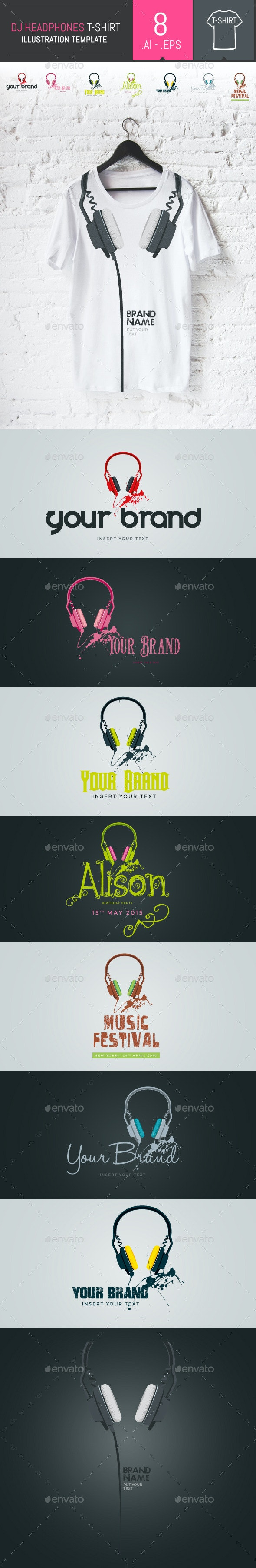 8 Vector Professional Dj Headphones Templates