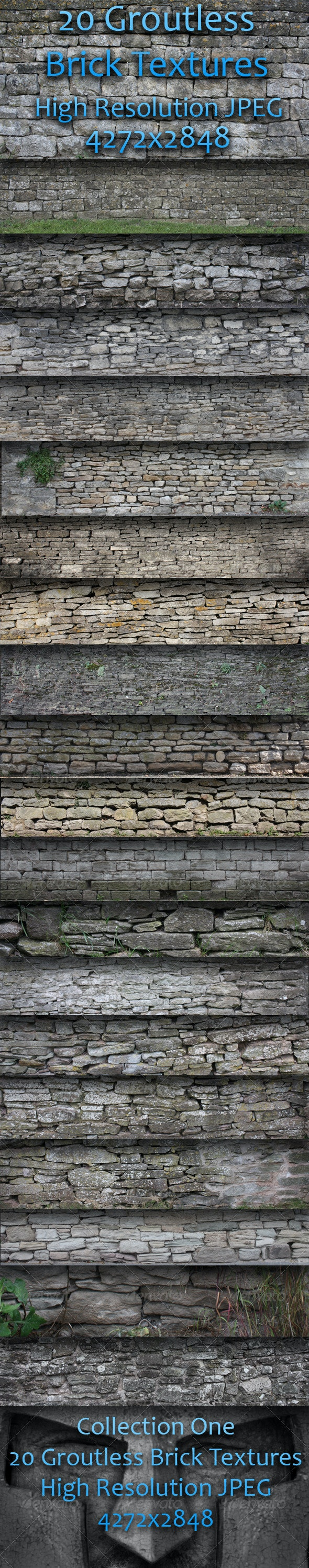 20 Groutless Brick Textures - Pack One  - Stone Textures