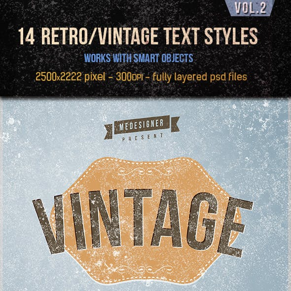 14 Retro / Vintage Text Effects V.2
