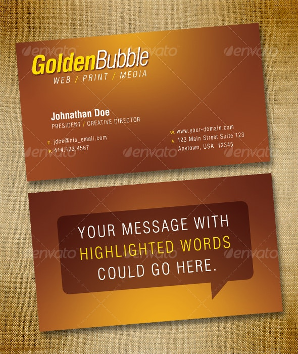 Golden Bubble Business Card - Creative Business Cards