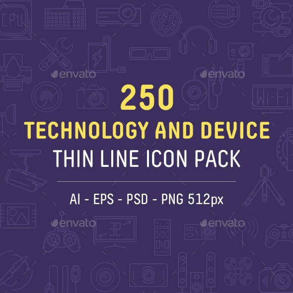 Technology and Device Thin Line Icon Pack
