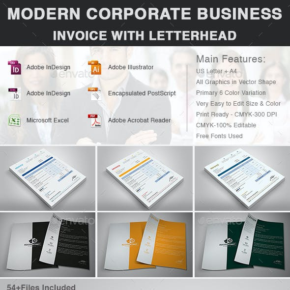 Modern Corporate Business Invoice With Letterhead