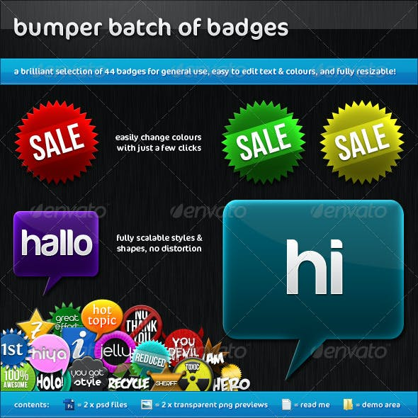 Bumper Batch of Badges