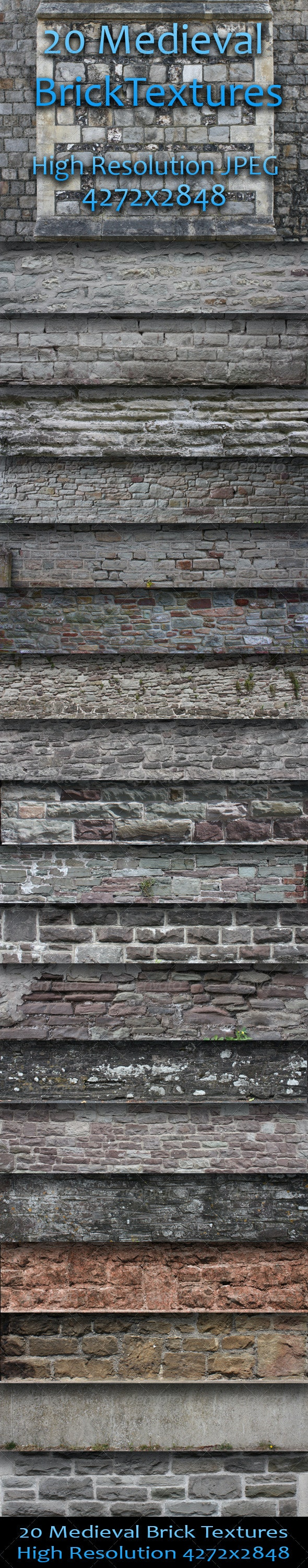 20 Medieval Brick Textures - Pack One  - Miscellaneous Textures