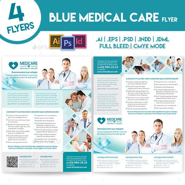 Blue Medical 4 Flyers Template