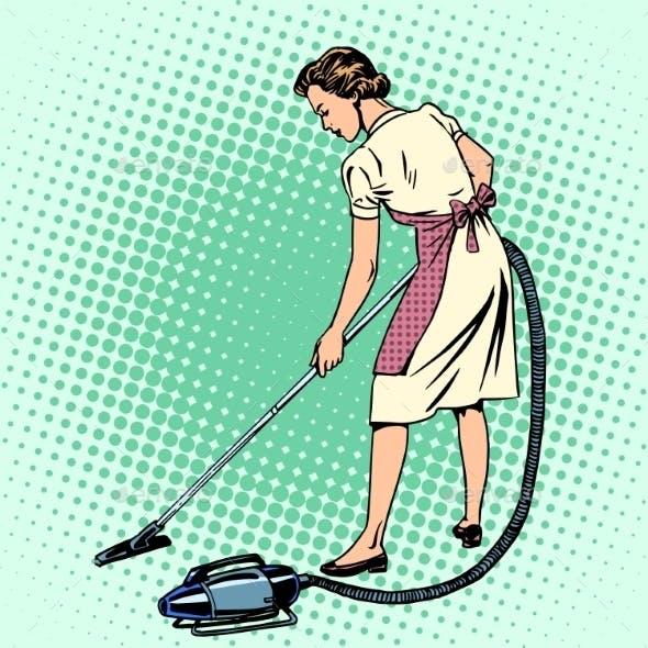 Woman Vacuuming the Room