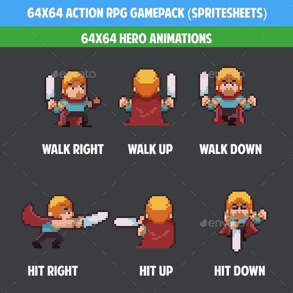 64x64 Acttion rpg gamepack (spritesheets)