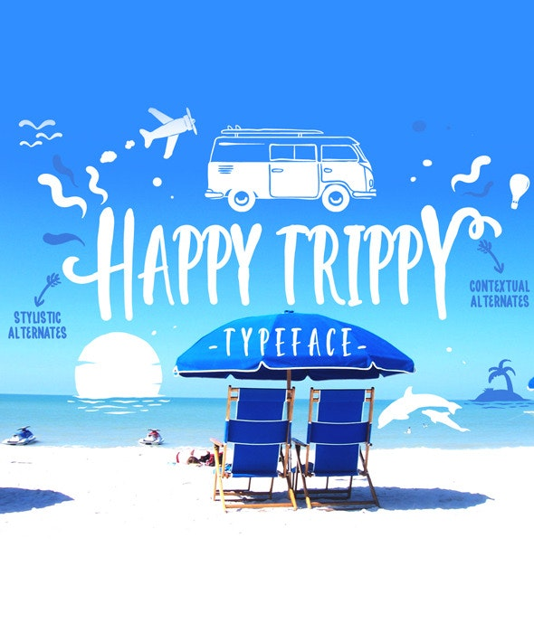 Happy Trippy Typeface - Holiday Decorative