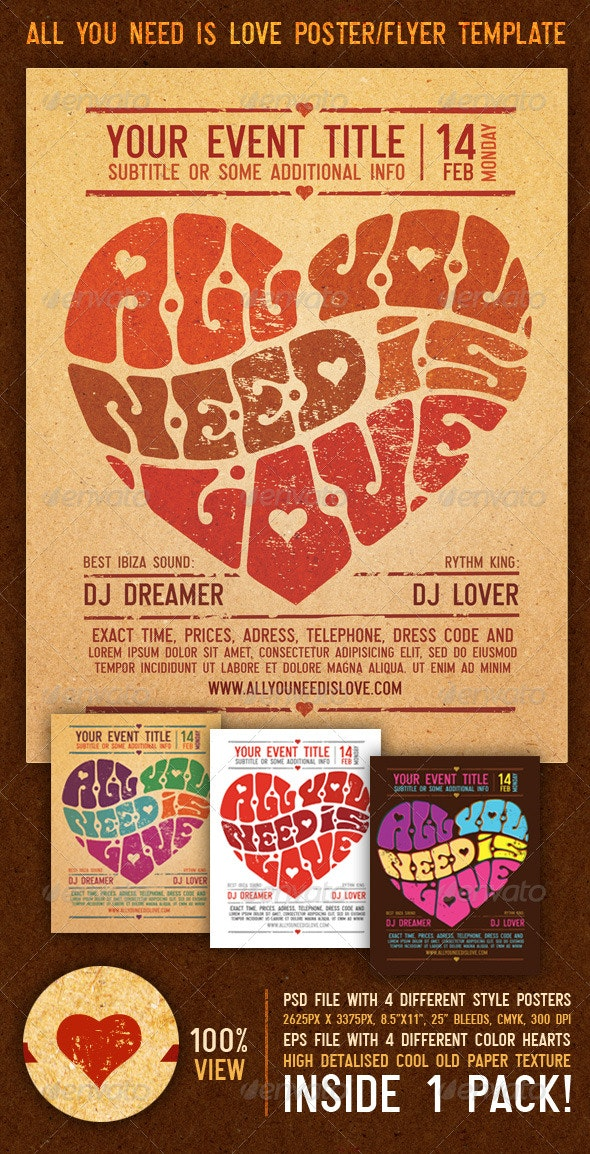 All You Need Is Love Vintage Poster/Flyer Template - Clubs & Parties Events