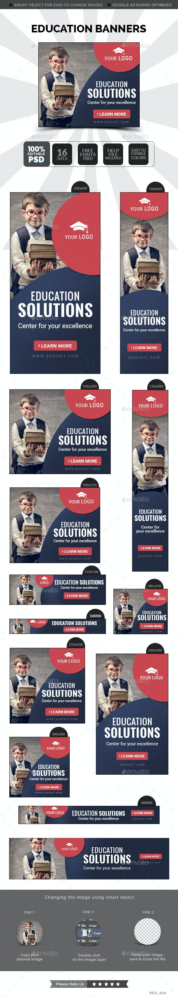 Education Banners - Banners & Ads Web Elements