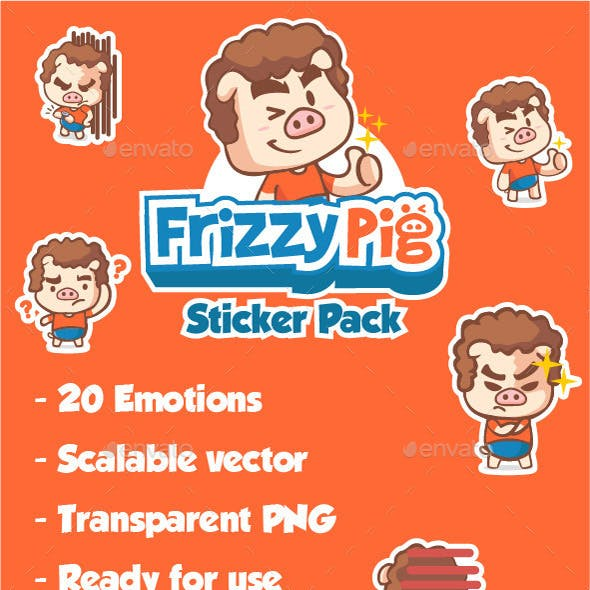 Frizzy Pig Sticker Pack