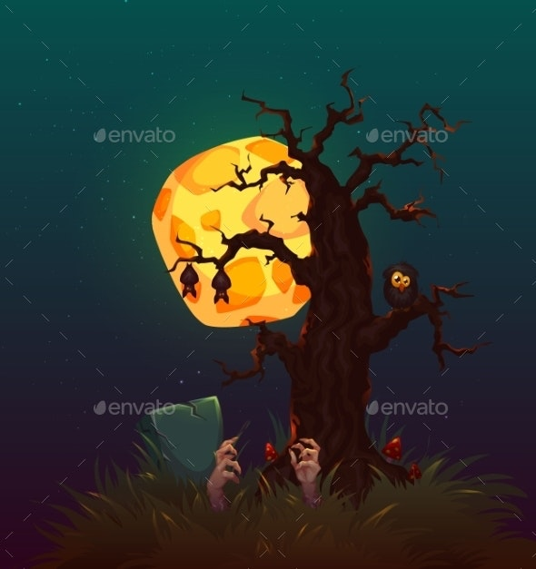 Halloween Party Poster With Witch And Moon. Vector - Halloween Seasons/Holidays