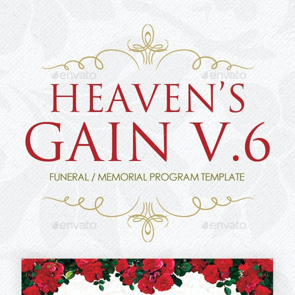 Heaven's Gain - Funeral / Memorial Program V.6