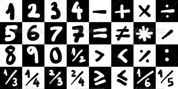 Handdrawn Math Symbols Collection #1 - Miscellaneous Vectors