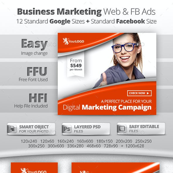 Business Marketing Web & Facebook Banners