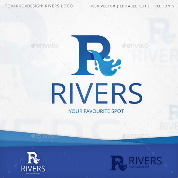Rivers Letter R Logo Template