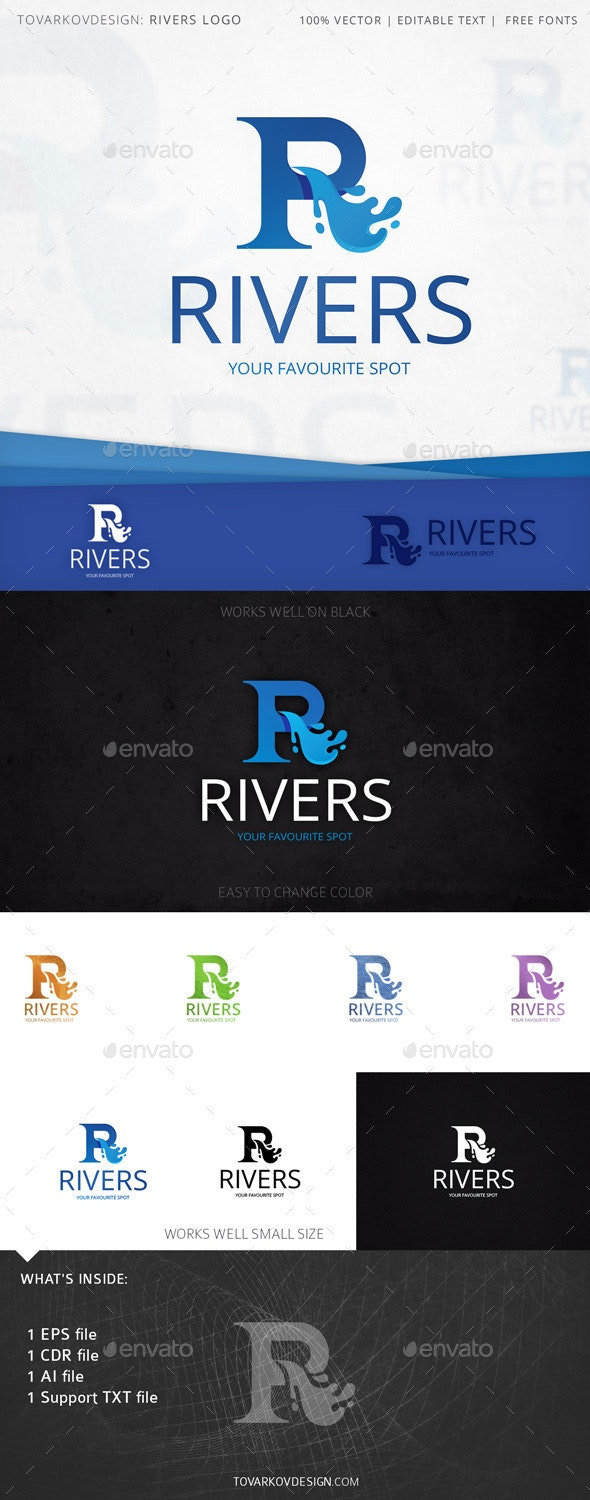 Rivers Letter R Logo Template - Letters Logo Templates