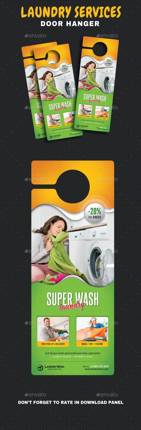 Laundry Services Door Hanger - Miscellaneous Print Templates