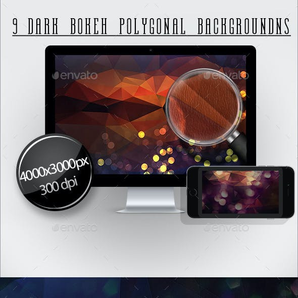 9 Dark Bokeh Polygonal Backgrounds