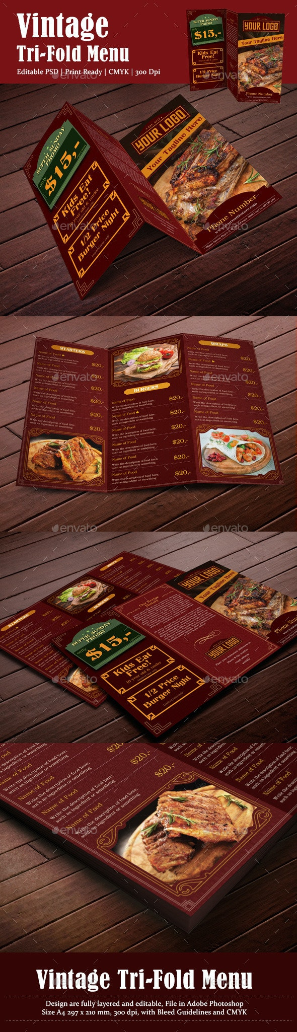 Vintage Menu - Food Menus Print Templates