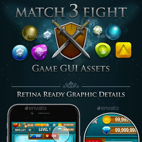 Match 3 Fight Puzzle Game  Kits and GUI Assets