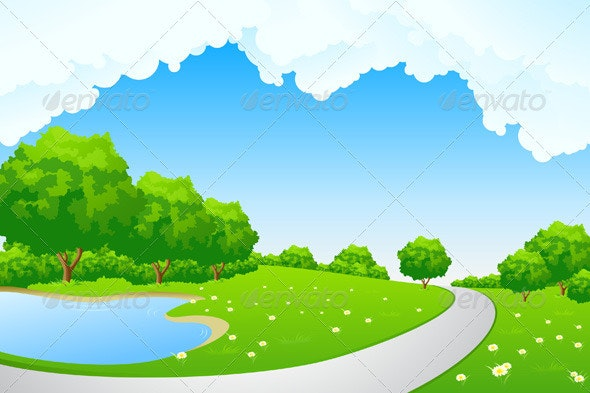 Landscape - Green Park with Lake and Path - Landscapes Nature