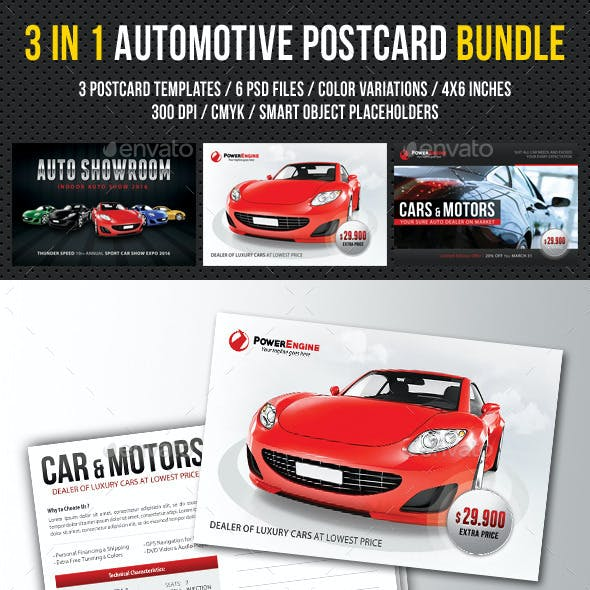 3 Automotive Car Sale Postcard Template Bundle