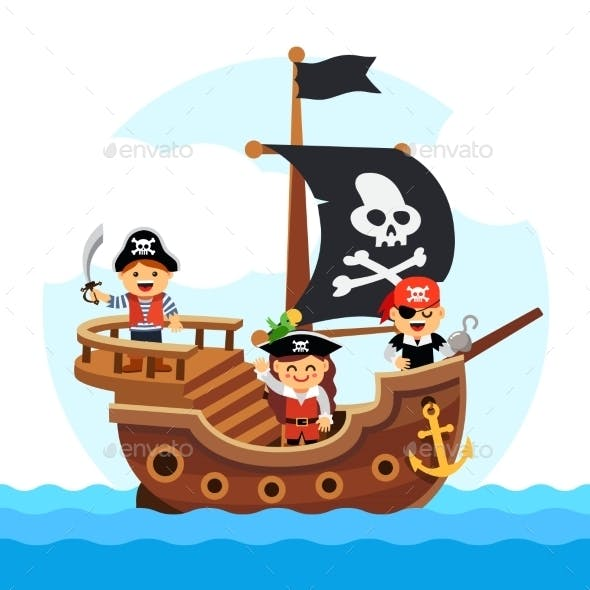 Cartoon Kids Pirate Ship Sailing Sea