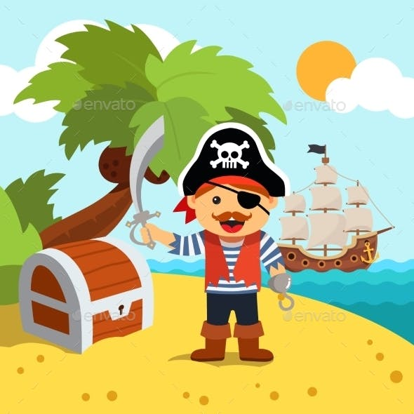 Pirate Captain on Island Shore with Treasure Chest