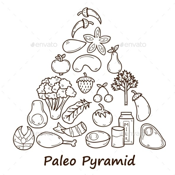Set Of Objects In Hand Drawn Style On Diet Theme