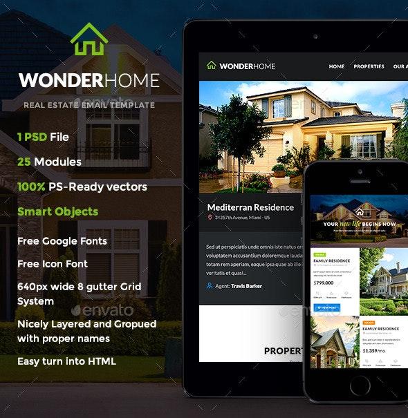 WonderHome - Real Estate E-newsletter Template - E-newsletters Web Elements