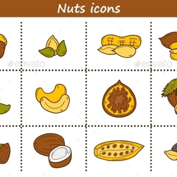Set Of Cartoon Hand Drawn Objects On Nuts Theme