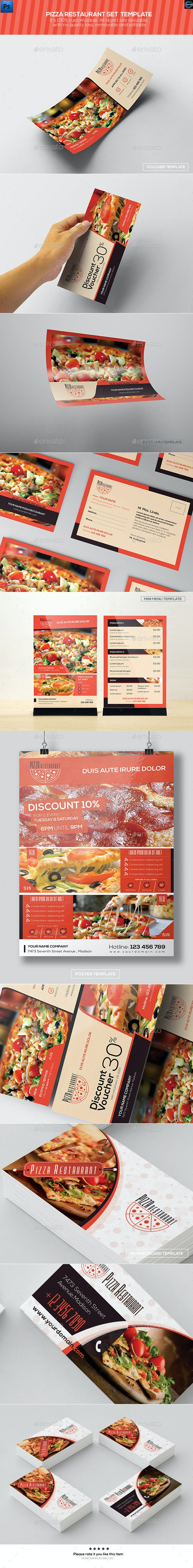 Pizaa Restaurant - Set Template - Food Menus Print Templates