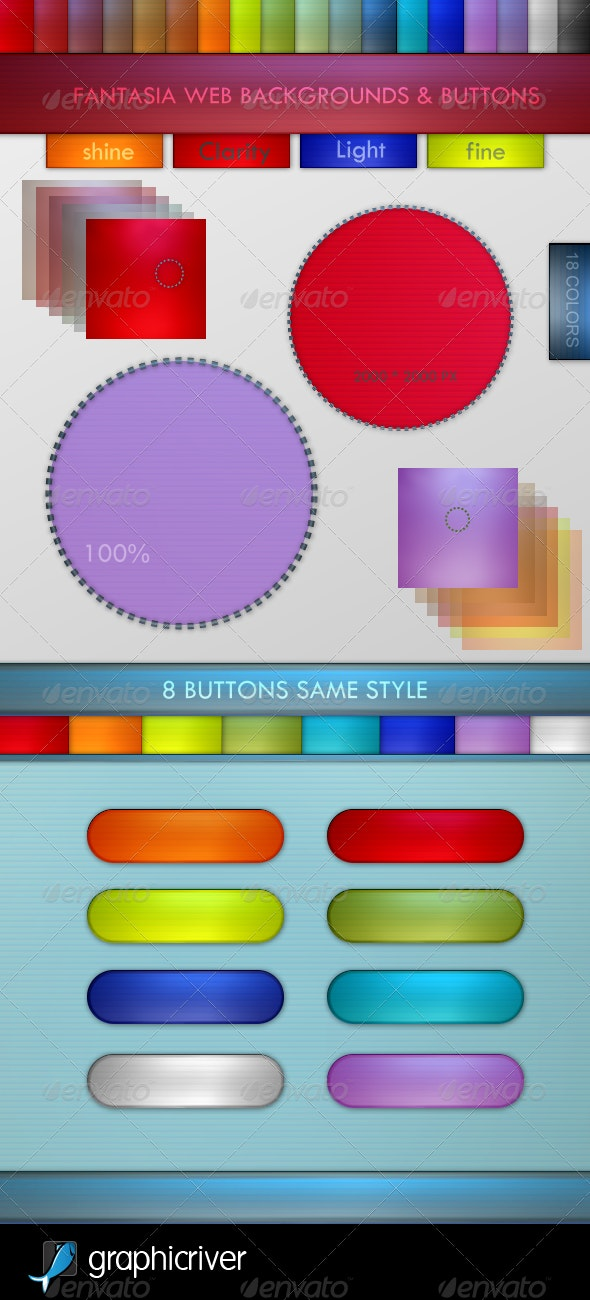 Fantasia Web Backgrounds & Buttons - Banners & Ads Web Elements