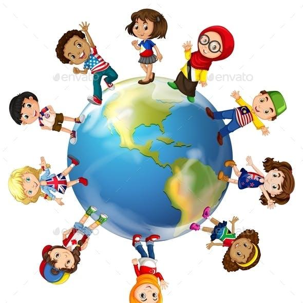 Children Standing on Globe