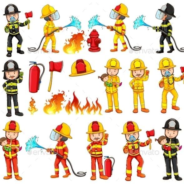 Firemen and Equipments Set