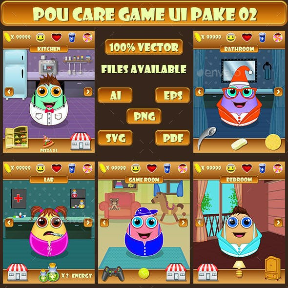 Pou Day Care Game UI Pack 02