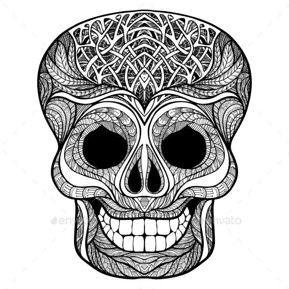 Decorative Skull Black Doodle Icon