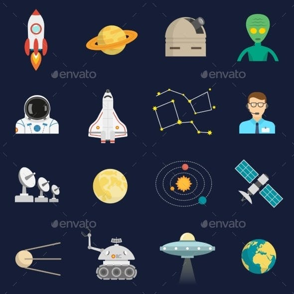 Space Cosmos Flat Icons Set