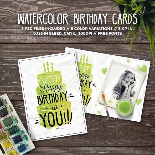 Watercolor Birthday Cards