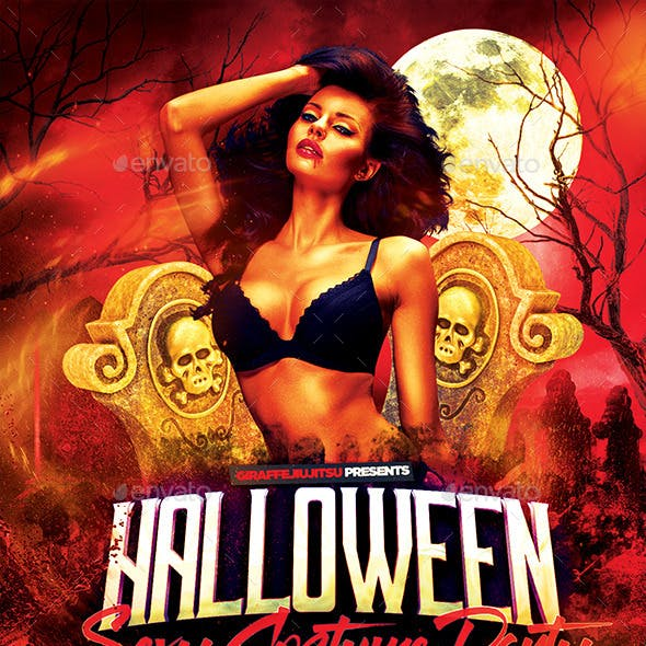 Sexy Halloween Costume Party Flyer Template