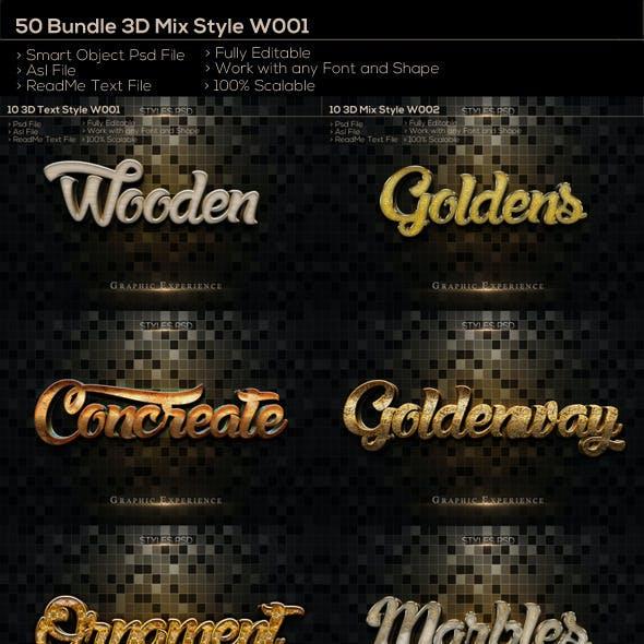 50  3D Text Style W001 Bundle
